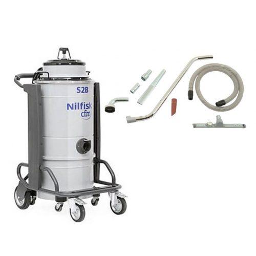 Nilfisk S2B L 50 egyfázisú kétmotoros száraz nedves ipari porszívó a gépipar számára (+felszívó készlet)