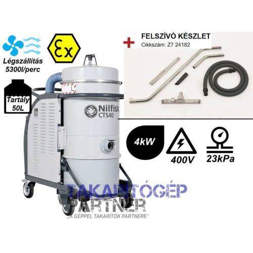Nilfisk CTS 40 Z22 háromfázisú robbanásbiztos száraz-nedves ipari porszívó ATEX tanúsítvánnyal (+felszívó készlet)